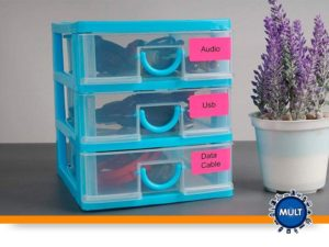 Coloque etiquetas nas gavetas
